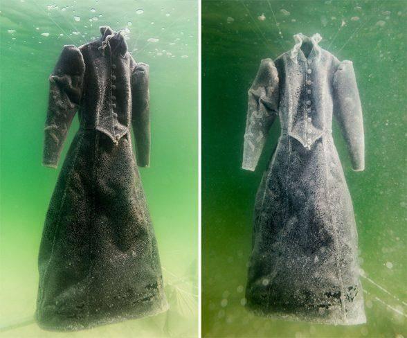 Художница на два года погрузила свое платье в Мёртвое море. А теперь с триумфом выставляет его в Лондонской галерее!